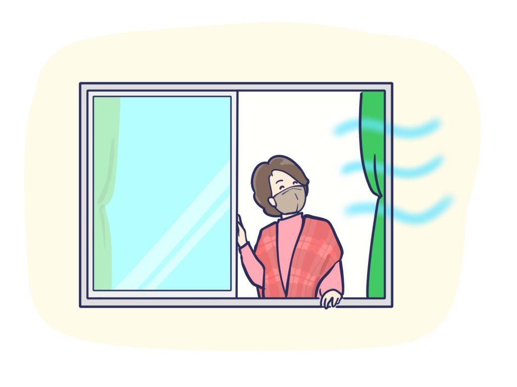 冬に窓を開けて換気をする女性のイラスト