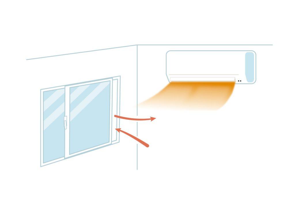 暖房を付けたまま換気をするイラスト