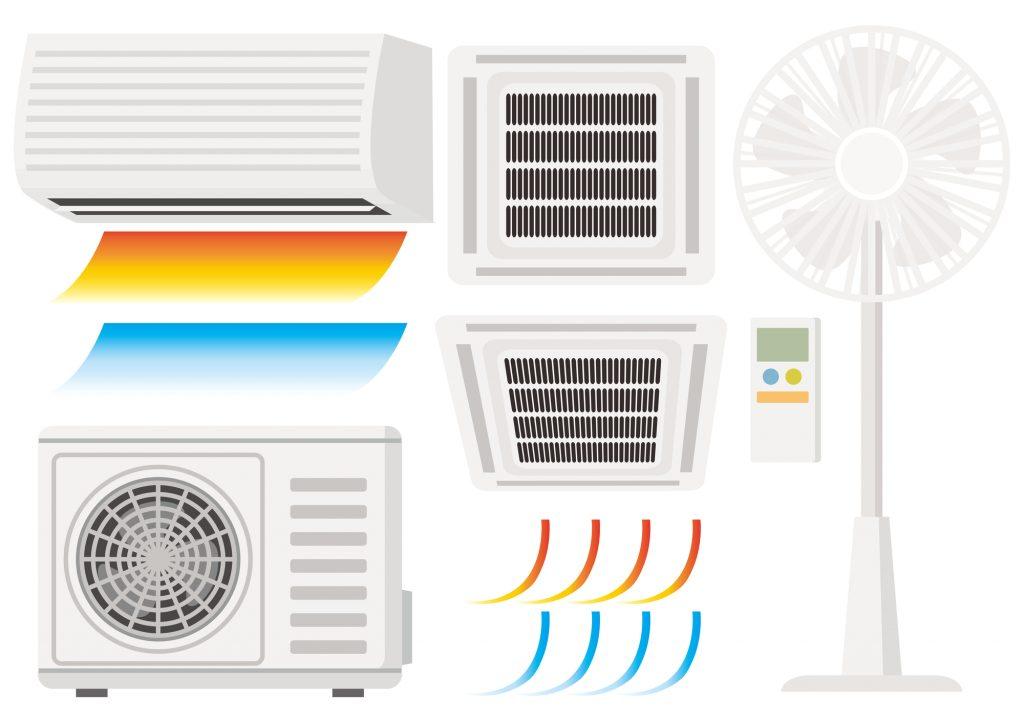 扇風機とエアコンのイラスト