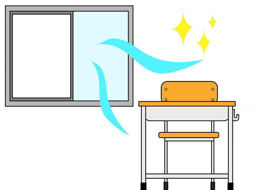 教室で窓換気をしているイラスト